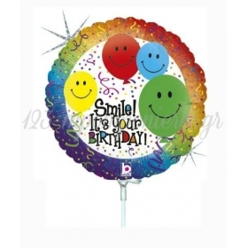 ΜΠΑΛΟΝΙ FOIL 9''(23cm) MINI SHAPE SMILE IT'S YOUR BIRTHDAY - ΚΩΔ:82591-BB