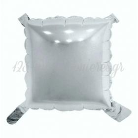 Μπαλονι Foil 40Cm Κατασκευης Με Αυτοκολλητα Τετραγωνο Ασημι - ΚΩΔ:526R101-Bb