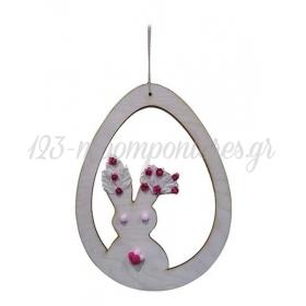 Ξυλινο Διακοσμητικο Κουνελακι Με Σκοινακι 40X30Cm - ΚΩΔ:D19W40-4-Bb