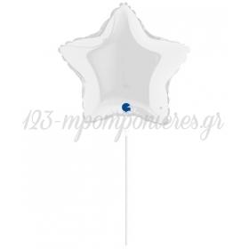 ΜΠΑΛΟΝΙ FOIL 10''(25cm) MINI SHAPE ΑΣΤΕΡΙ ΑΣΠΡΟ - ΚΩΔ:9218-BB
