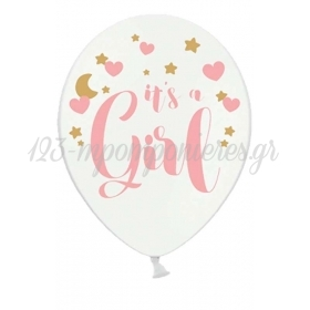 ΜΠΑΛΟΝΙ ΛΑΤΕΞ 12''(32cm) ΤΥΠΩΜΕΝΟ ΡΟΖ IT'S A GIRL - ΚΩΔ:SB14P-233-008-6-BB