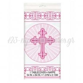 Χαρτινο Τραπεζομαντηλο Ροζ Με Σταυρο - ΚΩΔ:578279-Bb