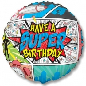 "ΜΠΑΛΟΝΙ FOIL 18""(45cm) SUPER BIRTHDAY COMIC - ΚΩΔ:401597-BB"