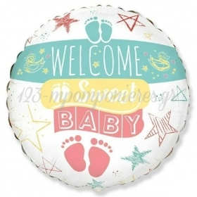 "ΜΠΑΛΟΝΙ FOIL 18""(45cm) WELCOME SWEET BABY - ΚΩΔ:401593-BB"
