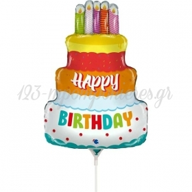 "ΜΠΑΛΟΝΙ FOIL 14""(36cm) MINI SHAPE BIRTHDAY CAKE - ΚΩΔ:G72068-BB"