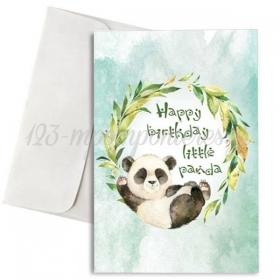 ΚΑΡΤΑ ΓΕΝΕΘΛΙΩΝ HAPPY BIRTHDAY LITTLE PANDA ΜΕ ΦΑΚΕΛΟ - ΚΩΔ:XK14001K-1-1W-BB
