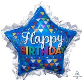 ΜΠΑΛΟΝΙ FOIL 33''(86cm) HAPPY BIRTHDAY ΜΠΛΕ ΑΣΤΕΡΙ - ΚΩΔ:533610-BB