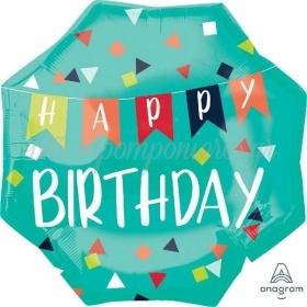 ΜΠΑΛΟΝΙ FOIL 22''(55cm) HAPPY BIRTHDAY BANNER - ΚΩΔ:540676-BB