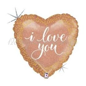 ΜΠΑΛΟΝΙ FOIL 18''(45cm) ΚΑΡΔΙΑ HOLOGRAPHIC I LOVE YOU - ΚΩΔ:36639H-BB