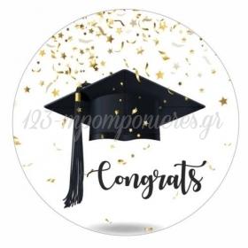 Αυτοκολλητο Αποφοιτησης Congrats 10Cm - ΚΩΔ:5531121-12-10-Bb