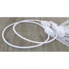 Στεφανα Γαμου Σετ 2 Τεμ Με Περλες Και Λευκη Δαντελα - ΚΩΔ:St34-Set-Rn