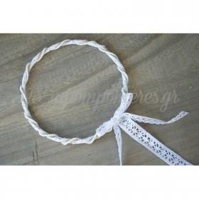 Στεφανα Γαμου Σετ 2 Τεμ Λινα Με Λευκη Δαντελα Με Περλιτσες - ΚΩΔ:St37-Set-Rn