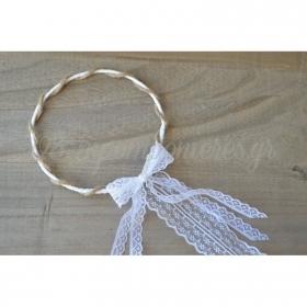 Στεφανα Γαμου Σετ 2 Τεμ Με Λευκη Δαντελα Και Φυσικο Σχοινι - ΚΩΔ:St14-Set-Rn
