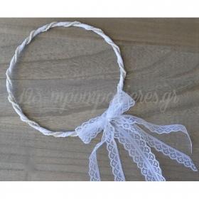 Στεφανα Γαμου Σετ 2 Τεμ Λινα Με Περλιτσες Και Λευκη Δαντελα - ΚΩΔ:St12-Set-Rn