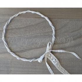 Στεφανα Γαμου Σετ 2 Τεμ Λινα Με Περλιτσες Και Εκρου Δαντελα - ΚΩΔ:St22-Set-Rn
