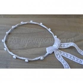 Στεφανα Γαμου Σετ 2 Τεμ Λινα Με Λευκα Λουλουδακια Και Λευκη Δαντελα - ΚΩΔ:St19-Set-Rn