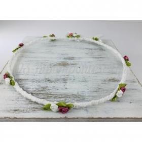 Στεφανα Γαμου Σετ 2 Τεμ Λευκα Με Λευκα-Σαπιο Μηλο Λουλουδια & Φυλλο - ΚΩΔ:St375-Set-Rn
