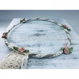 Στεφανα Γαμου Σετ 2 Τεμ Λινα Με Ιβουαρ Δαντελα Και Ροζ Λουλουδια Με Φυλλο - ΚΩΔ:St369-Set-Rn