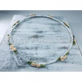 Στεφανα Γαμου Σετ 2 Τεμ Λευκα Με Ιβουαρ Λουλουδια & Φυλλο - ΚΩΔ:St370-Set-Rn