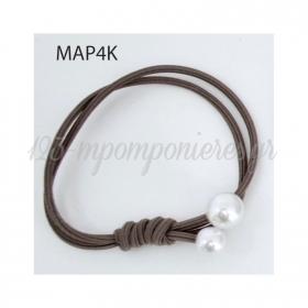Ελαστικο Καφε Βραχιολι Με Δυο Περλες - ΚΩΔ:Mar4K-Rn