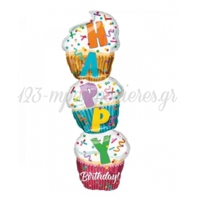 ΜΠΑΛΟΝΙ FOIL 33X104cm ΤΟΥΡΤΑ HAPPY BIRTHDAY - ΚΩΔ:537983-BB