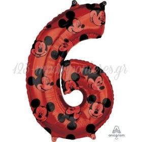 Μπαλονι Foil 45X66Cm Mickey Mouse Αριθμος 6 - ΚΩΔ:541707-Bb