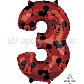 Μπαλονι Foil 45X66Cm Mickey Mouse Αριθμος 3 - ΚΩΔ:540133-Bb