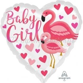 """ΜΠΑΛΟΝΙ FOIL 17""""(43cm) ΚΑΡΔΙΑ BABY GIRL ΦΛΑΜΙΝΓΚΟ - ΚΩΔ:539633-BB"""