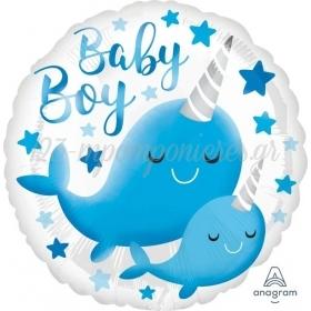 """ΜΠΑΛΟΝΙ FOIL 17""""(43cm) BABY BOY NARWHAL - ΚΩΔ:539634-BB"""