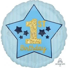 """ΜΠΑΛΟΝΙ FOIL 17""""(43cm) 1ST BIRTHDAY BOY ΜΠΛΕ & ΧΡΥΣΟ - ΚΩΔ:540370-BB"""
