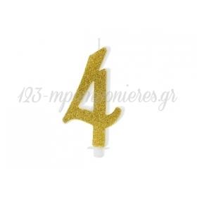 Κερακι Με Χρυσο Γκλιτερ 10Cm Αριθμος 4 - ΚΩΔ:Scu4-4-019-Bb