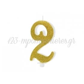 Κερακι Με Χρυσο Γκλιτερ 10Cm Αριθμος 2 - ΚΩΔ:Scu4-2-019-Bb