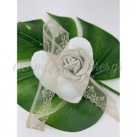 Πανινη Καρδια Με Βελουδινο Λουλουδι 7.5X7.5Cm - ΚΩΔ:Y58M-Rn