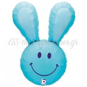 """Μπαλονι Foil 37""""(94Cm) Μπλε Χαμογελαστο Λαγουδακι - ΚΩΔ:15355B-Bb"""
