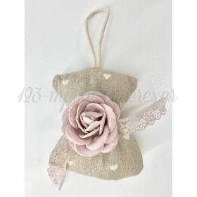 Μαξιλαρακι Μπεζ Με Καρδουλες Και Ροζ Λουλουδι 10.5X10.5Cm - ΚΩΔ:Y67X-Rn