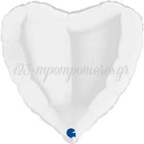 ΜΠΑΛΟΝΙ FOIL 18''(45cm) ΛΕΥΚΗ ΚΑΡΔΙΑ - ΚΩΔ:18018WH-BB