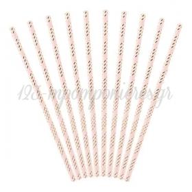 Καλαμακια Απαλο Ροζ - Χρυσο Ριγε 19.5Cm - ΚΩΔ:Spp12-081J-019-Bb