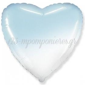 """Μπαλονι Foil 32""""(81.30Cm) Καρδια Ομπρε Ασπρο-Γαλαζιο - ΚΩΔ:206500Bg-Bb"""