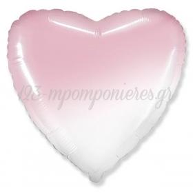 """Μπαλονι Foil 32""""(81.30Cm) Καρδια Ομπρε Ασπρο-Ροζ - ΚΩΔ:206500Bg-2-Bb"""