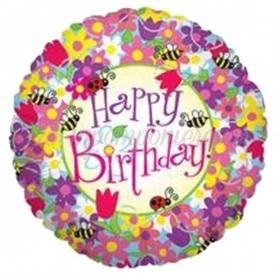 ΜΠΑΛΟΝΙ FOIL ΓΕΝΕΘΛΙΩΝ «Happy Birthday» ΛΟΥΛΟΥΔΙΑ ΚΑΙ ΜΕΛΙΣΣΕΣ 45cm – ΚΩΔ.:16928Ρ-BB
