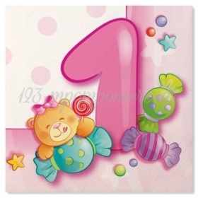 Χαρτοπετσετες Ροζ First Birthday Αρκουδακι - ΚΩΔ:32307Lfν-Bb