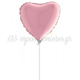 """Μπαλονι Foil 10""""(25Cm) Mini Shape Καρδια Παστελ Ροζ – ΚΩΔ.:09007Ρρ-Bb"""