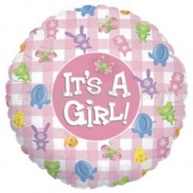 Μπαλονι Foil 45Cm Για Γεννηση «It'S A Girl» Καρω Με Γλυκα Ζωακια – ΚΩΔ.:86056Ρ-Bb