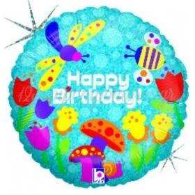 ΜΠΑΛΟΝΙ FOIL ΓΕΝΕΘΛΙΩΝ «Happy Birthday» ΜΕ ΠΟΛΥΧΡΩΜΟ ΚΗΠΟ 45cm – ΚΩΔ.:86595Ρ-BB