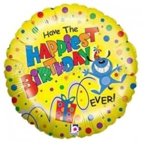 ΜΠΑΛΟΝΙ FOIL ΓΕΝΕΘΛΙΩΝ HAPPIEST BIRTHDAY ΚΙΤΡΙΝΟ 45cm – ΚΩΔ.:86273Ρ-BB