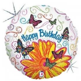 ΜΠΑΛΟΝΙ FOIL ΓΕΝΕΘΛΙΩΝ «Happy Birthday» ΜΑΡΓΑΡΙΤΑ ΚΑΙ ΠΕΤΑΛΟΥΔΕΣ 45cm – ΚΩΔ.:86596Ρ-BB