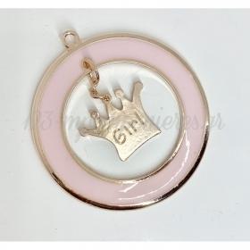 Μεταλλικη Girl Κορωνα Σε Ροζ Κυκλο - ΚΩΔ:M88-Rn