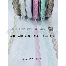 Κορδελα Ροζ Δαντελα Μιση Καμπυλη - ΚΩΔ:A142-Rn
