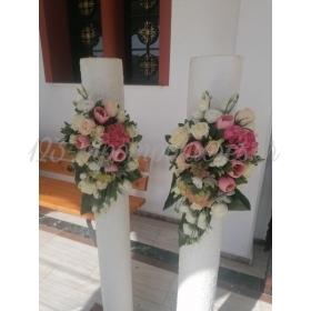 Λαμπαδες Γαμου Στολισμενες Με Ορτανσιες Τριανταφυλλα Και Παχυφυτα - ΚΩΔ.:Saf-2905-L