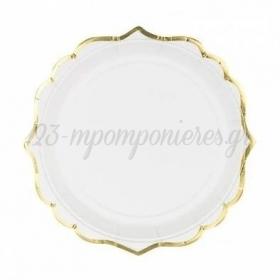 Χαρτινα Πιατα Γλυκου Ασπρα Με Χρυσο Περιγραμμα 18.5Cm - ΚΩΔ:Tpp30-008-Bb